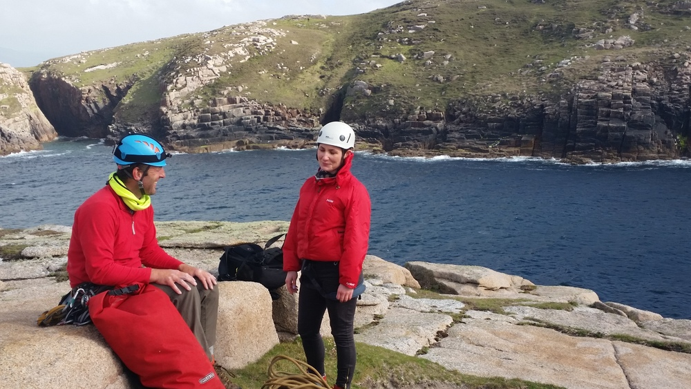 Iain Miller & Moira Ní Ghallachóír, pre climb nerves.