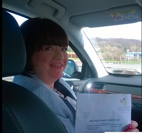 Colleen from Bonners Bar with her nomination for Best Restaurant 2014