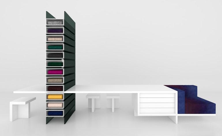 Glenn Sestig Architects created the retail units for Raf Simons' fabrics at Kvadrat