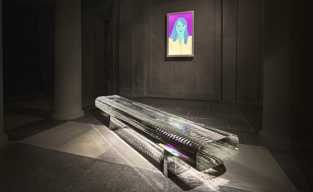 Tokujin Yoshioka's Water Block bench is aptly placed in the room that used to house the Duke's baths