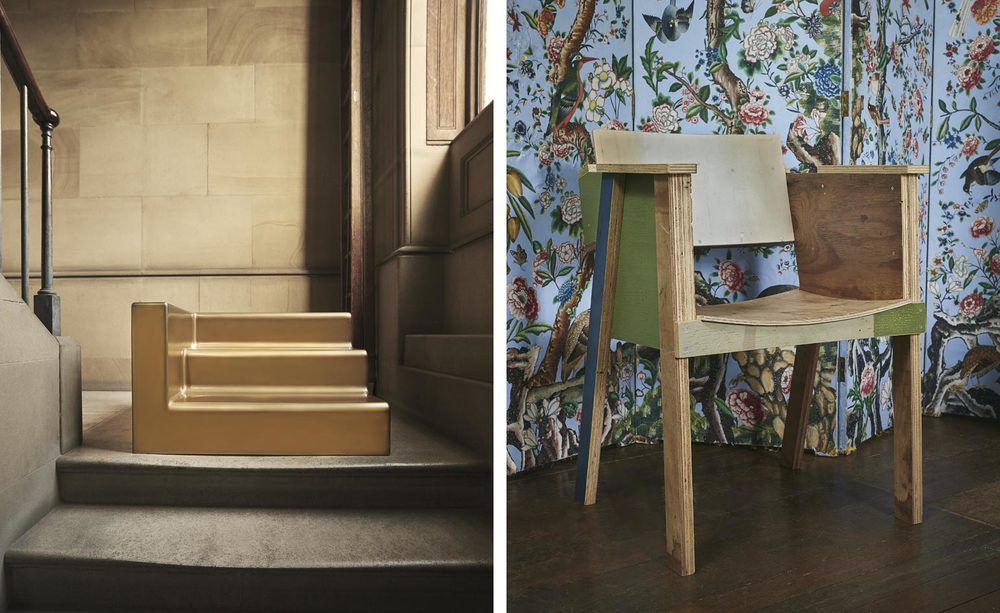 Liliana Ovalle's Fragment of a Staircase is aptly placed on one of the house's staircases, while Piet Hein Eek's Kröller Müller chairs found its home in a first floor bedroom