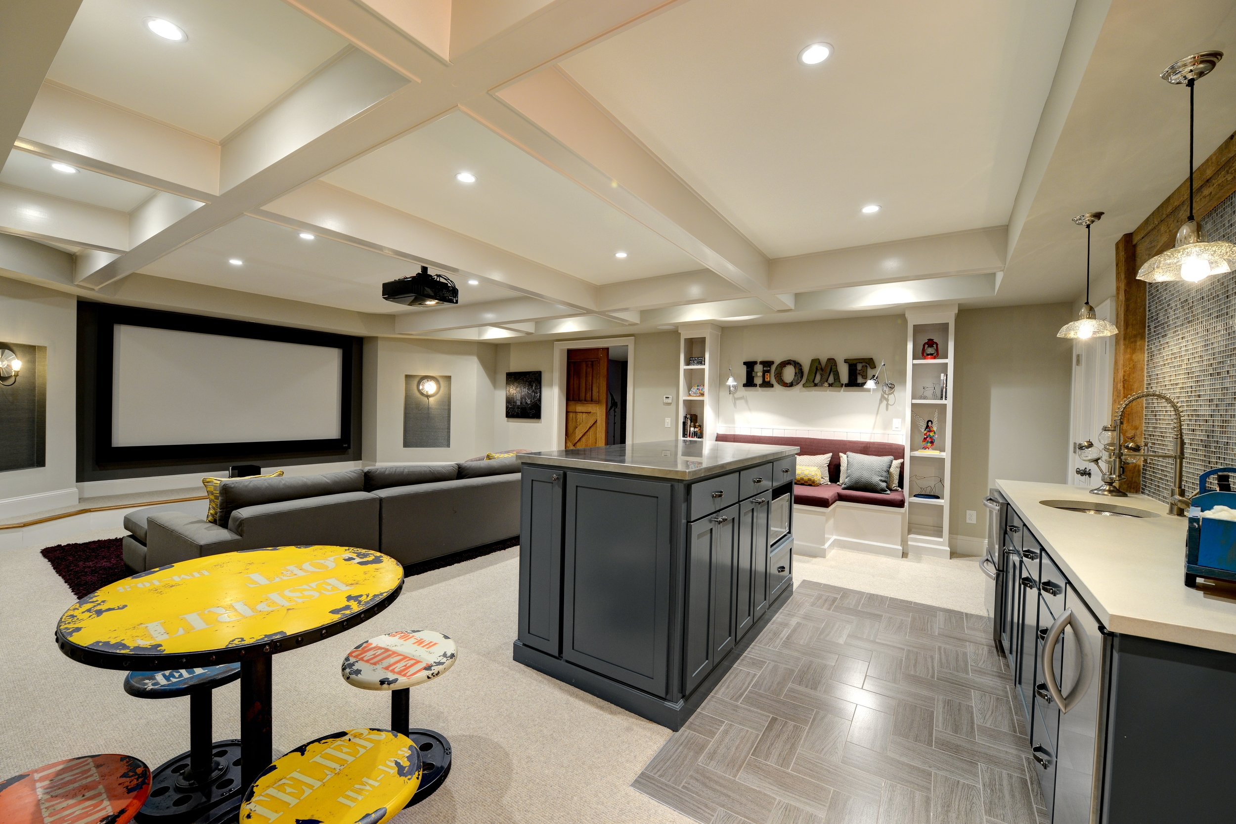 collier rd basement design with home theatre bathroom - Design For Basement