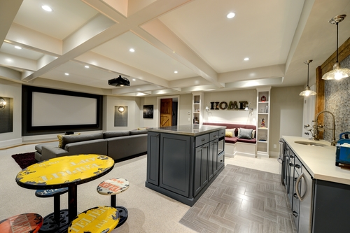 collier rd basement design with home theatre bathroom - Home Basement Designs