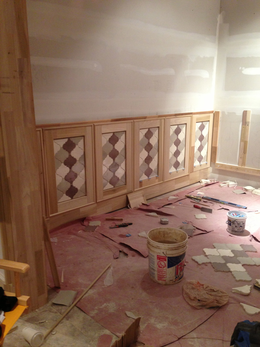 Espresso Room - In Process.  Building the wainscot with a tile insert and a detailed trim design.
