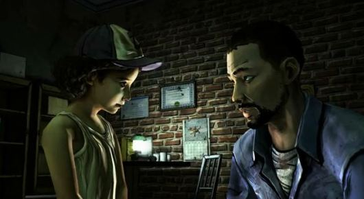 Clementine and Lee, main characters in The Walking Dead.