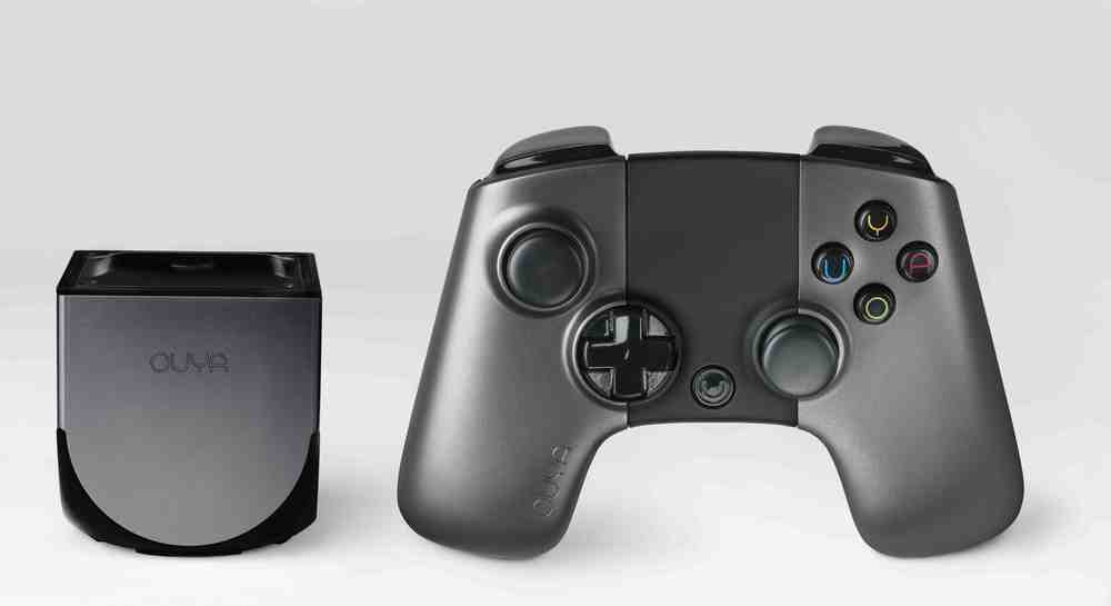 The Ouya console and controller. Yes, the console really is that small.