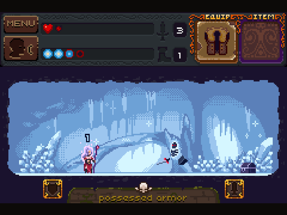 An image from the iPad version of Deep Dungeons of Doom. The Ouya version is the same, but in widescreen format.