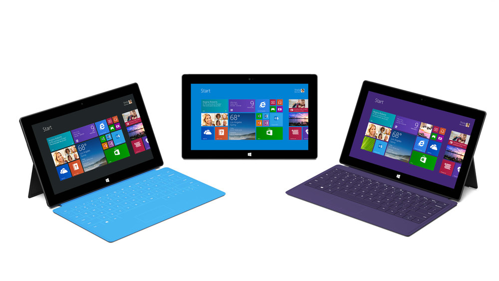 A promotional image of Microsoft's Surface Tablets.