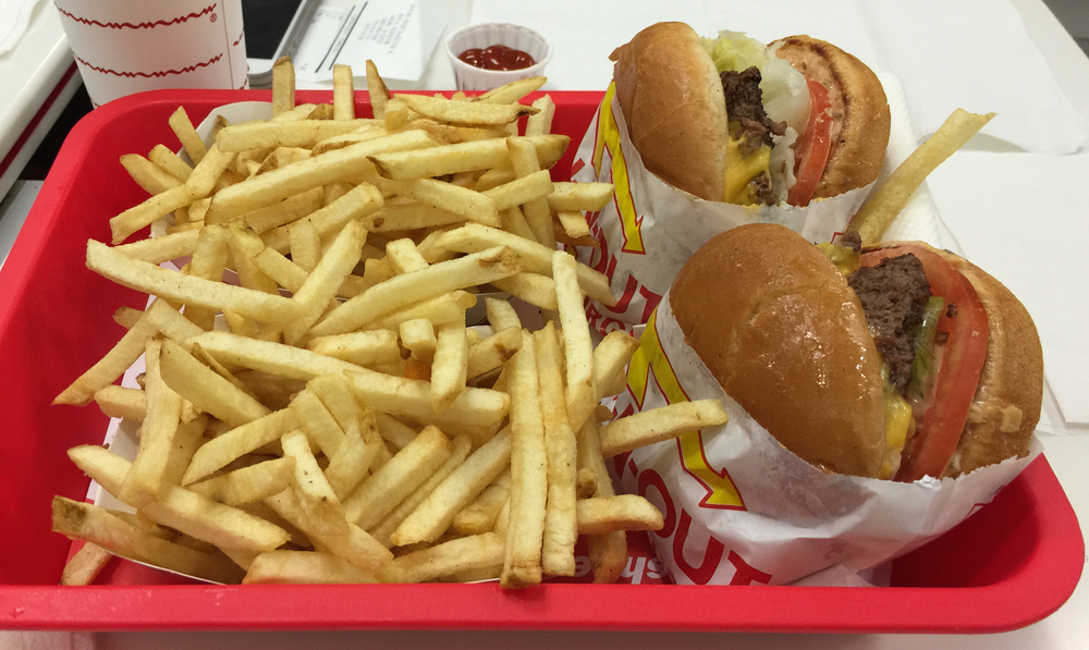 The coveted-by-midwesterners-because-we-don't-have-em In-N-Out burger, animal style.