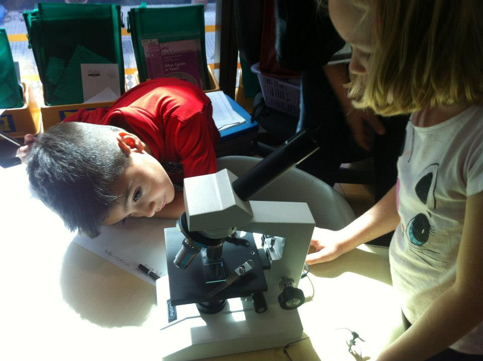 Kindergarten students figuring out the microscope!