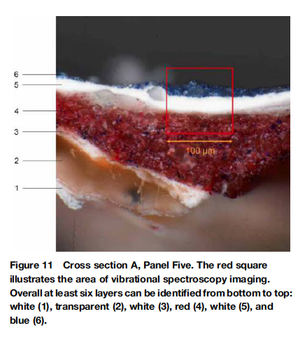 Cross section of a small paint sample used for material analysis