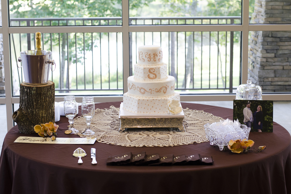 The lace under the wedding cake was made by the bride's grandmother.