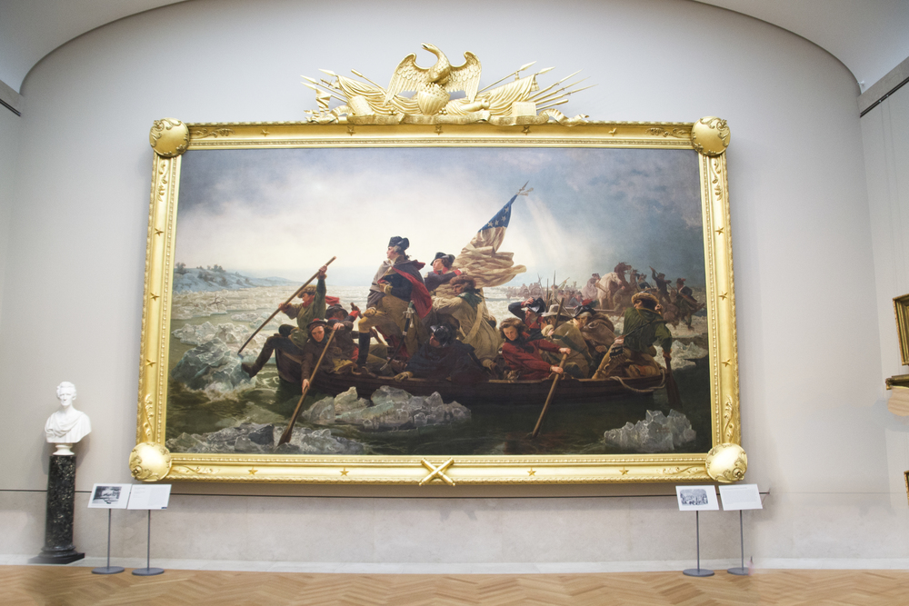 Washington Crossing the Delaware (1851) It stands 12.5 feet tall and is 21 feet wide, not including the frame.