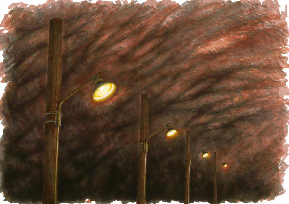 Lampor längs vägen