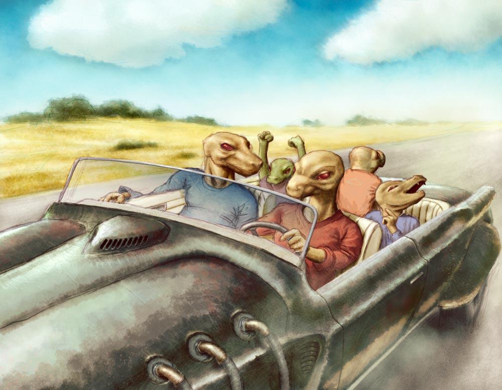 Lizard family driving