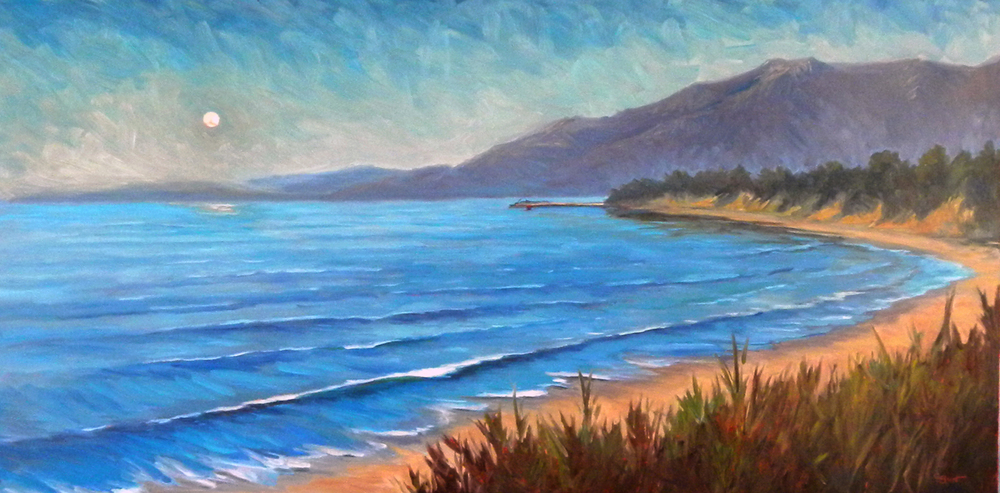 Moonset Over Santa Barbara, 20 x 40 inches