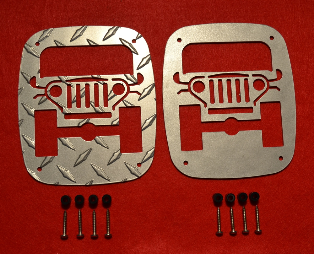 1976-2006 WRANGLER GUARDS SHOWN ABOVE. OUR ORIGINAL DESIGN. ALL OUR TAILLIGHT GUARDS ARE REVERABLE .
