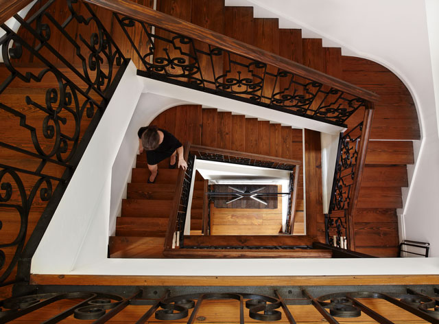 Interior Stair Railing  Blackened steel balustrade