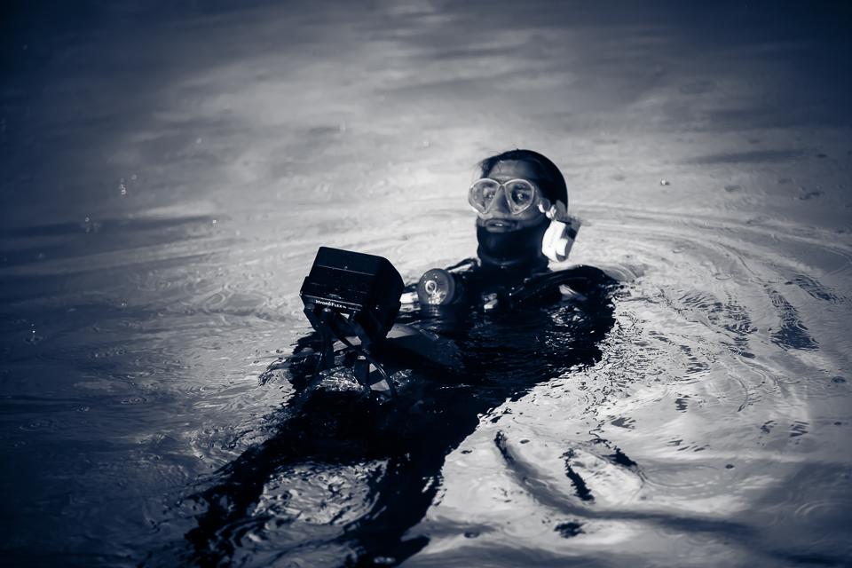 Underwater Op Ryan Thomas ready to submerge.