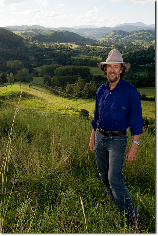 Geoff Lawton, a character in the film Abundant Land.  Geoff is a world renowned  Permaculture Designer and teacher who has helped communities around the world restore damaged lands to productive agriculture systems.