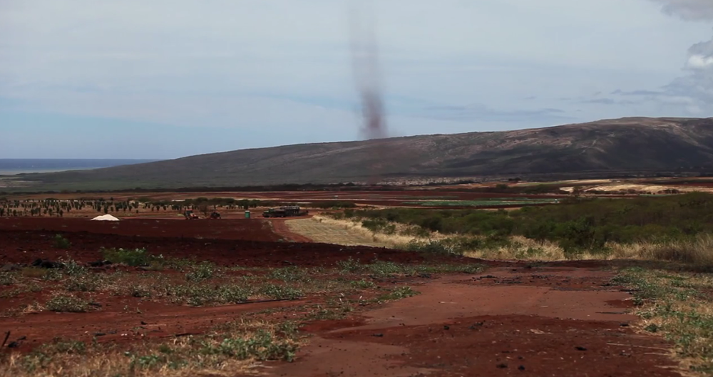 Dust devil on Moloka'i.  A common occurrence near the commercial agricultural fields.