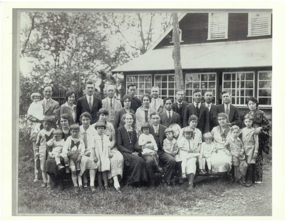 The Fox Family and others in Japan around 1928. George Pepperdine, founder of Pepperdine University, is seated in the middle with my grandfather's sister Ramona on his lap. My grandfather is sitting on his mother's lap all the way on the left with his hand to his face.