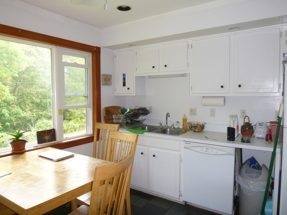 Before:  the owners wished to keep these existing cabinets, and to continue with new cabinetry in the addition, custom built to match exactly.  Also:  new granite countertops on new and existing.