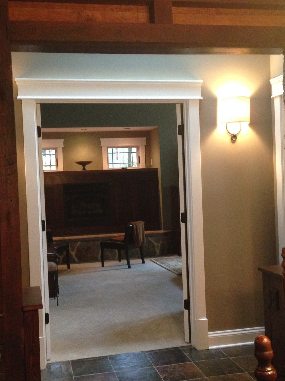 Picture taken from the original dining room, across a new vestibule and into the master bedroom.