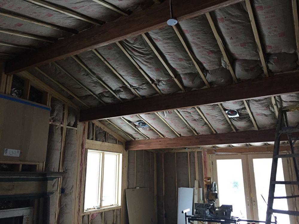 DURING:  The ceiling will be drywalled but the purlins will remain visible, finished with wood trim.