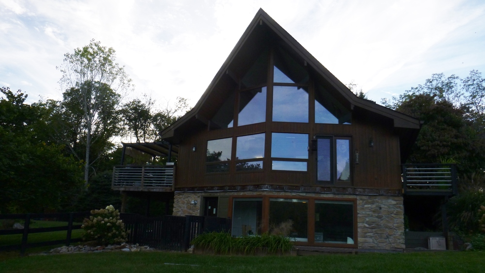 Contemporary additions to post and beam prow home fine for Prow front home plans