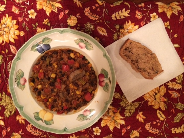 The finished veggie chili with a slice of homemade zucchini bread.