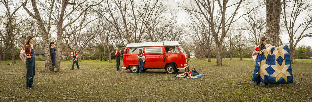 This panorama of Maura was taken in one of her favorite pecan tree groves with her awesome VW Bus and her Dark Star quilt.