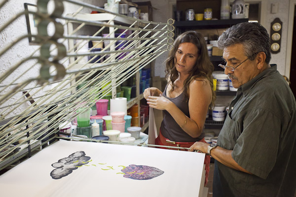 The late, great Sam Coronado helps Lacey with her Serie Print in 2011 at Coronado Studio.