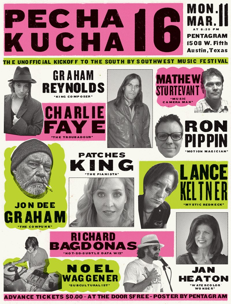 The poster for PechaKucha Night #16 created by Pentagram.