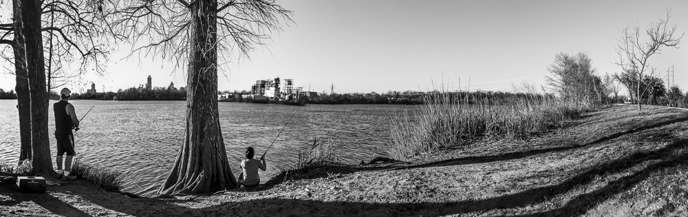 Father and son fishing on Lady Bird Lake