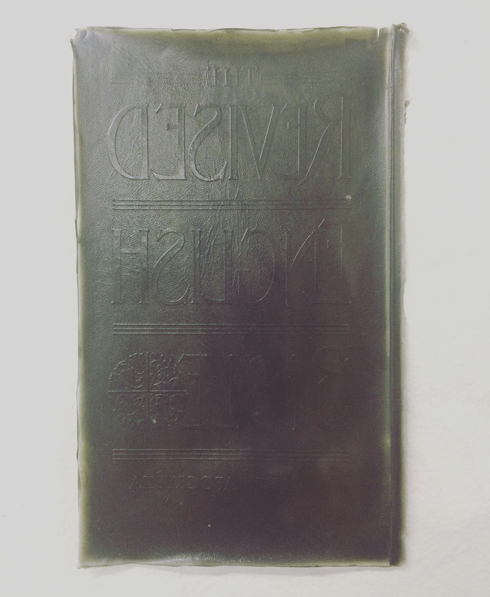 Graphite cast (inverted) of The Rvised English Bible