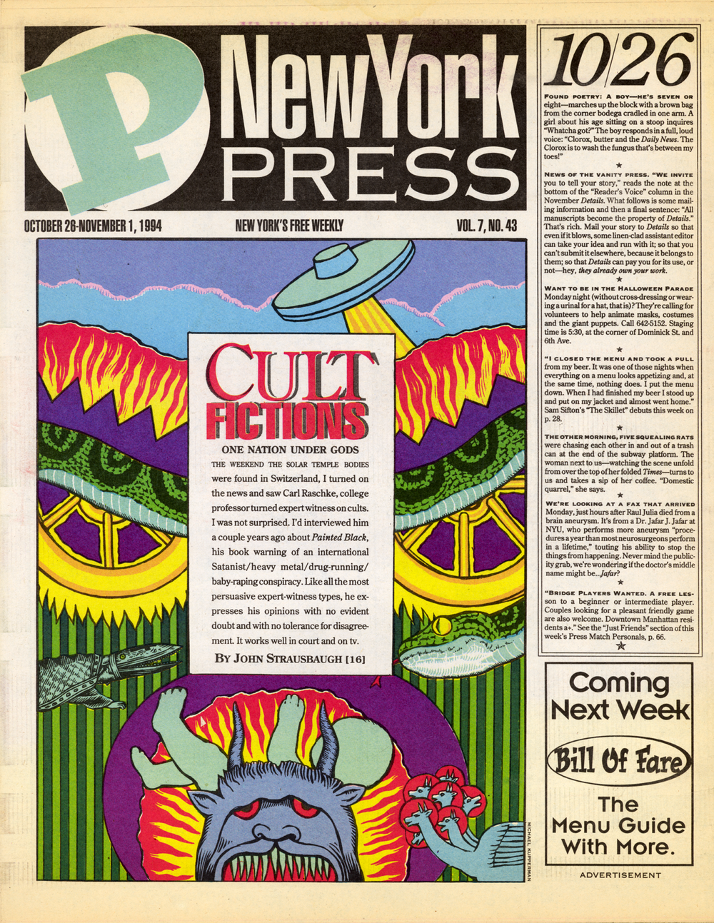 """Cult fictions""  The New York Press , 1994"
