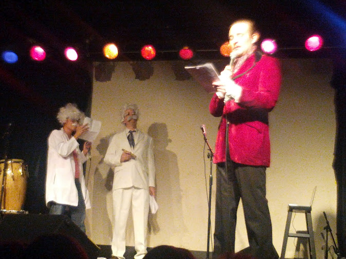 James Adomian as Vincent Price, Adam Warrock as Albert Einstein, and myself as Mark Twain, about to start rapping in another recent show.  Photo by Casey Ward