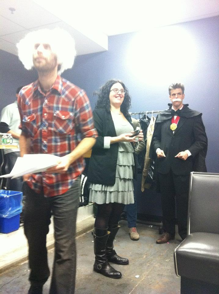 "Backstage: expert producer Marianne Ways, Jon Glaser as (another) Mark Twain, and David Rees as ""Count Andrew Dice Twainula."""