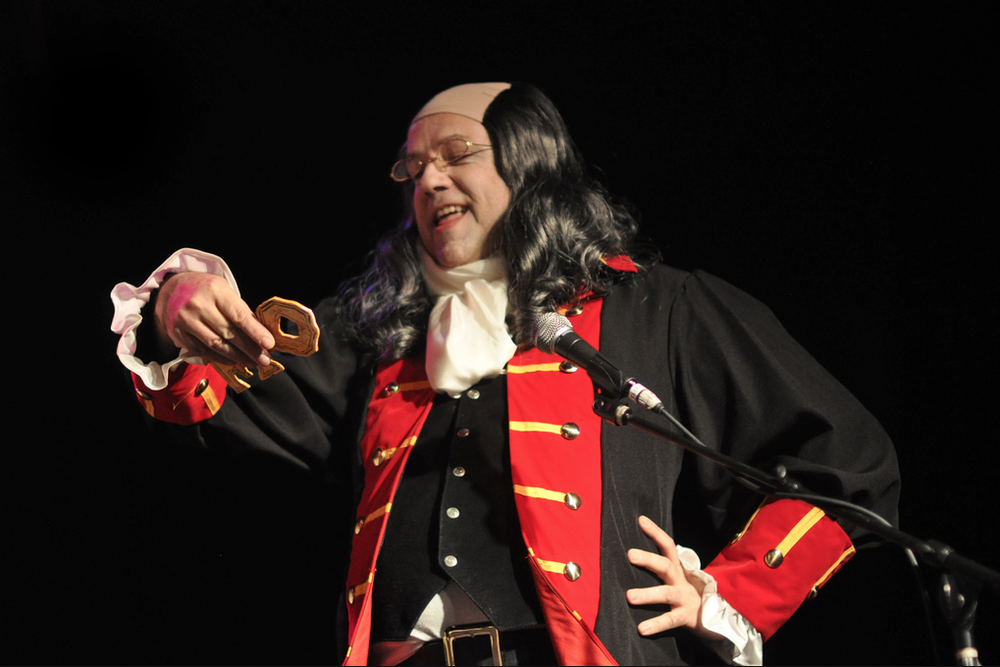 My friend Steven Hammel (who also created the scenery) as Benjamin Franklin.  Photo by Edwina Hay