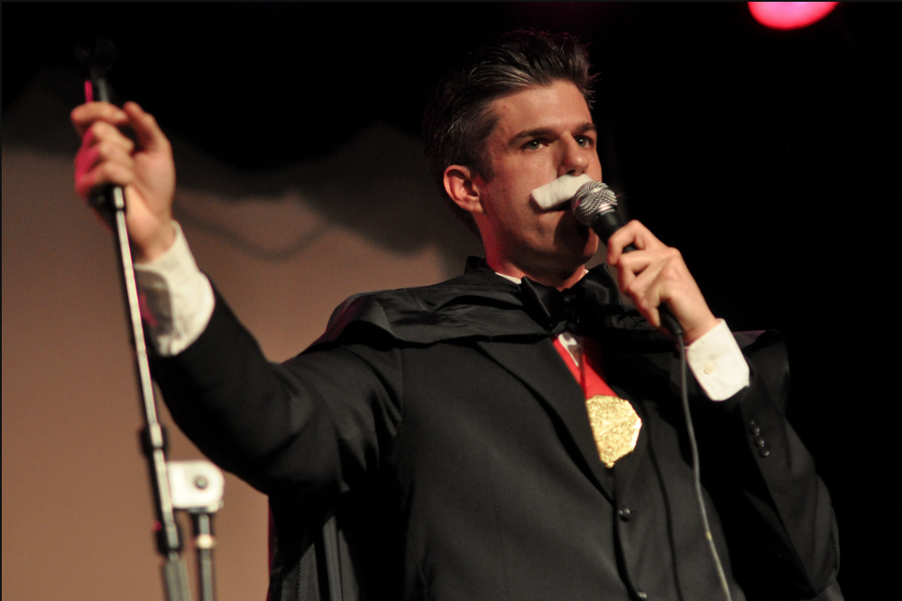 "David Rees as ""Count Andrew Dice Twainula."" This character was a sort of Transylvanian vampire version of Andrew Dice Clay, with a little Twain thrown in.  Photo by Edwina Hay"
