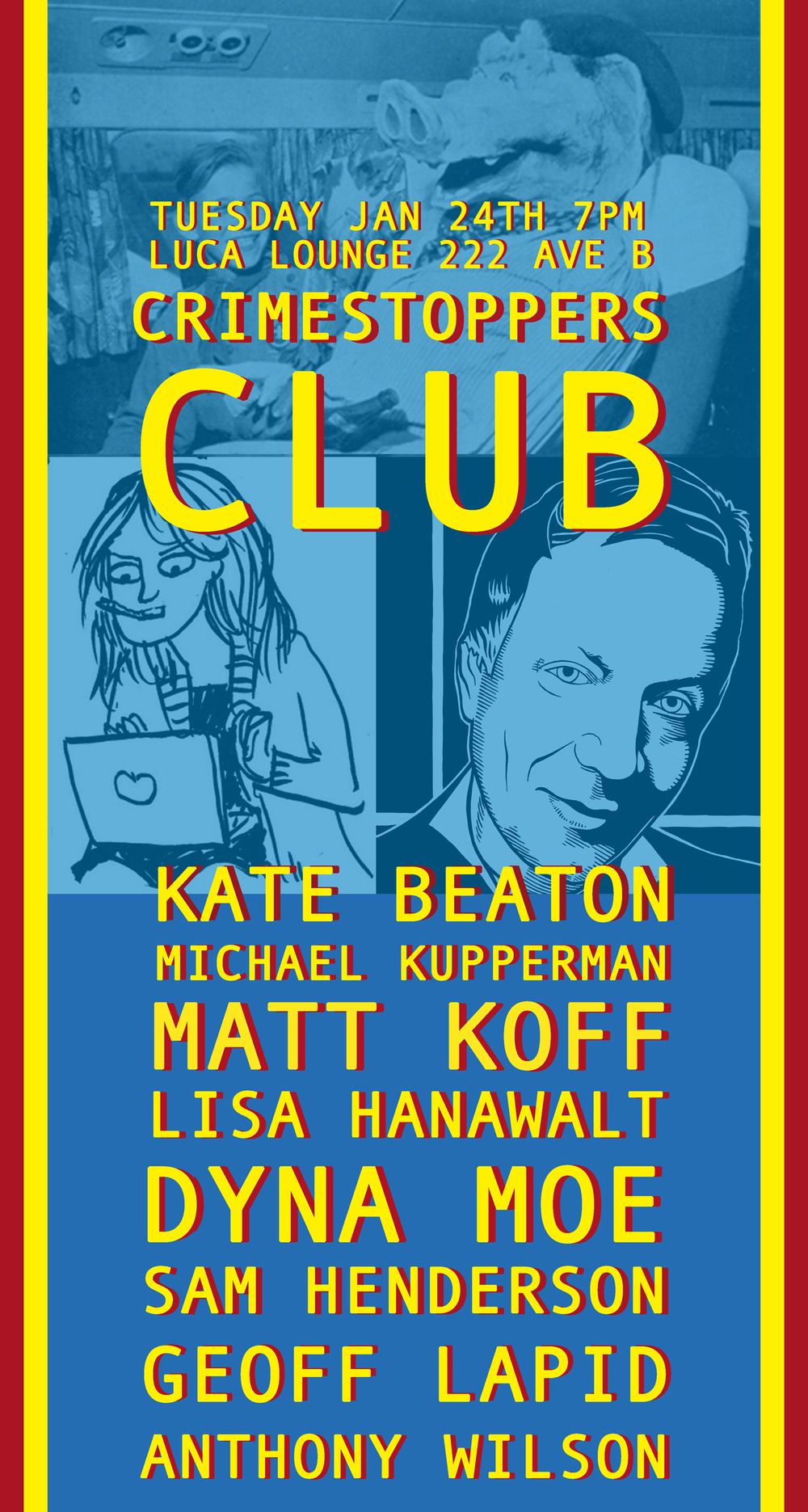 Crimestoppers Club was my show with Kate Beaton, where we combined comics (sequential art) with comics (standup comedians).