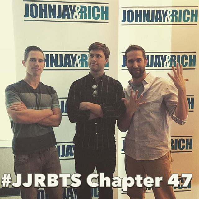 BRAND NEW#JJRBTS Podcast with @joeybradfisch and @pomoandkitsch! A brand new #JJRBTS is up, NOW!  We talk about the @colinjost visit this week and our field trip with @macmixing. Also, why is @pomoandkitsch angry again? Listen to the whole podcast at JohnjayandRich.com! #JJRBTS #joeyandgrant4eva