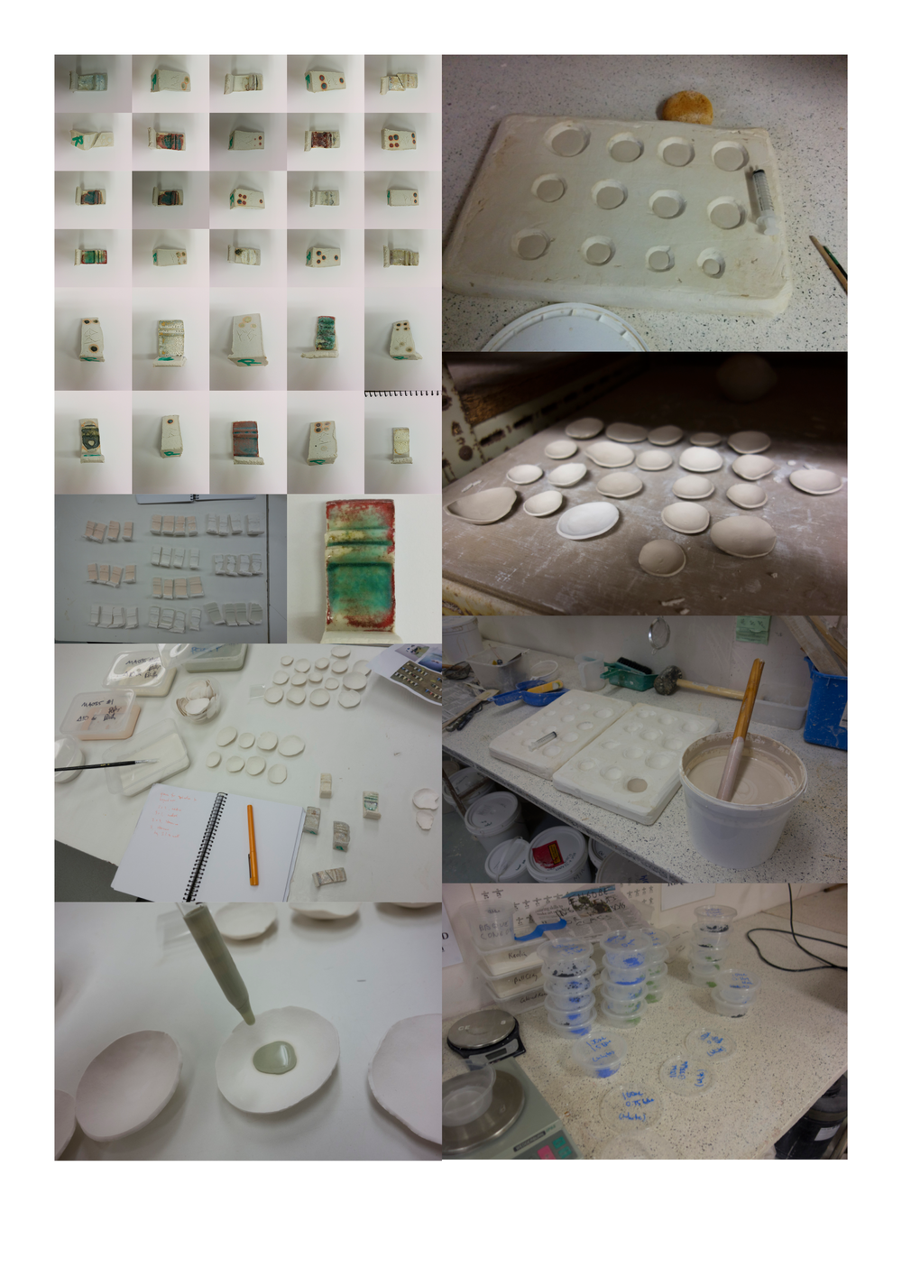 Test tile firing and application of test glazes to bowls, and mixing of graduated slip colours.