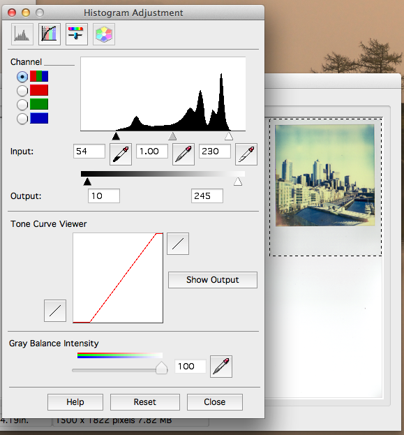 3) Adjust histogram to balance the levels on the blacks and whites