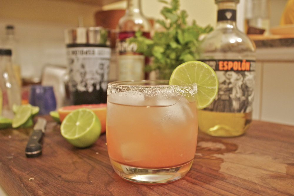 "The ""Bitter-Rita"" : Espolon Reposado, Campari, grapefruit juice, lime juice, and agave"