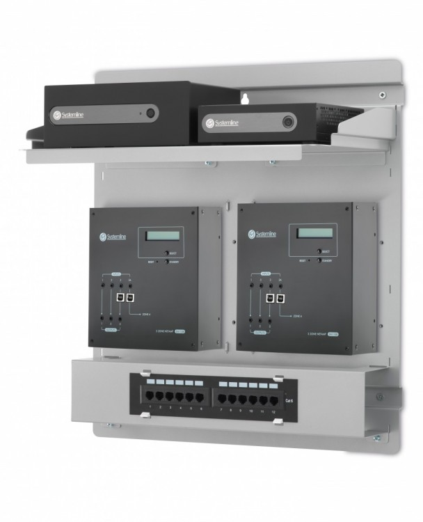 Discretely mounted server and amplifiers for the system