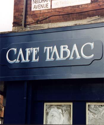 Cafe Tabac Shop signage