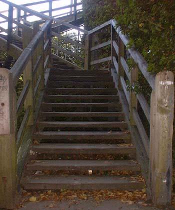Wooden footbridge construction