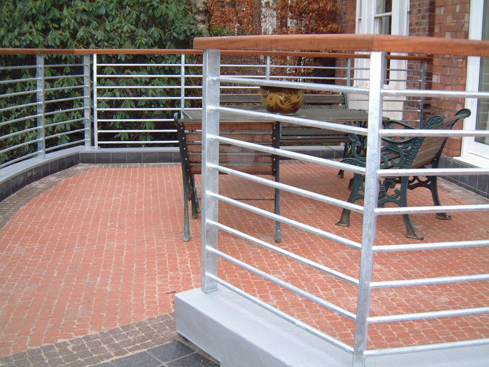 Steel rails with brick floor